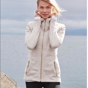 Athleta Luxe Stronger Hoodie Oatmeal and gold XL